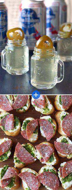 Salami Toasts + Jalapeño Picklebacks