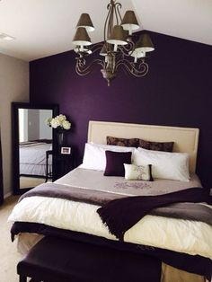 Do you need romantic bedroom decor ideas for your home? We got several amazing romantic bedroom ideas with its unique and comfortable space. Plum Bedroom, Purple Bedroom Design, Romantic Bedroom Design, Master Bedroom Design, Home Decor Bedroom, Modern Bedroom, Bedroom Designs, Romantic Bedrooms, Romantic Purple Bedroom