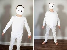 DIY a Baymax Costume For Your Big Hero 6 Lover For the white Baymax, just repeat the steps for the mask using white card stock and draw the eyes right on. You could stuff a shirt with a pillow for some extra padding.