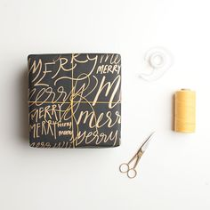 GORGEOUS hand drawn wrapping paper tutorial. I love the gold pen on the black paper!