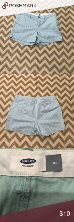 Old Navy Size 10 short shorts Old Navy women's size 10 short shorts. Only worn once . Mint color with little white and yellow flowers Old Navy Shorts