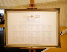 Large Framed Seating Plan with Pearl Embellishment by White Lace Wedding Stationery