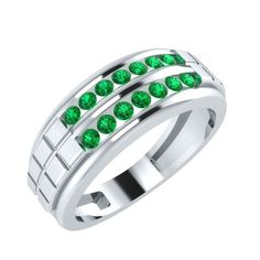 0.57 ct Emerald Mens Engagement Wedding Ring in 14kt Gold Over Silver #PanacheJewels #MensRing