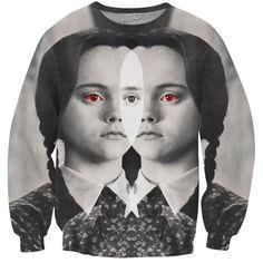 Wednesday Addams Crewneck Sweatshirt ($70) ❤ liked on Polyvore featuring tops, hoodies, sweatshirts, crew neck sweatshirts, all over print sweatshirts, crew-neck sweatshirts, crew top and crew neck tops