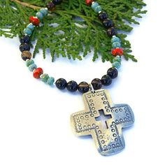 #SantaFe Cross #Necklace with Black #Agate and Red and Turquoise Czech Glass #Handmade by @ShadowDog #ShadowDogDesigns #Jewelry on #ArtFire