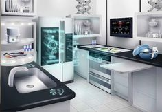 Interior, : Incredible Future Kitchen Technology With High Tech Quality In Design Ideas Futuristic Home, Futuristic Technology, Smart Kitchen, Buy Kitchen, Awesome Kitchen, Beautiful Kitchen, Cheap Kitchen, Kitchen Counters, Internet Of Things