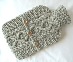 cosy aran hot water bottle cover