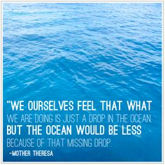 """We ourselves feel that what we are doing is just a drop in the ocean. But the ocean would be less because of that missing drop."""
