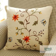 Flower and Butterfly Embroidery Pillow