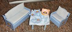 Träumerle Paradies Puppenstuben Möbel Vintage Esszimmer mit Geschirr