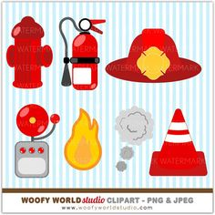 Fire Truck Kid Clipart  INSTANT DOWNLOAD  by WoofyWorldStudio, $5.00