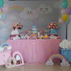 Baby Girl Birthday Decorations, Minnie Mouse Birthday Theme, 1st Birthday Party For Girls, Baby Boy Birthday, Rainbow First Birthday, Rainbow Parties, 1st Birthdays, Baby Shower, Photos