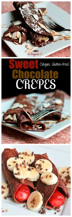 Sweet Chocolate Crepes (Vegan, Gluten-free, Oil-free, Grain-free). These crepes will blow your mind and made with NO eggs and NO milk! Sweet and chocolate.