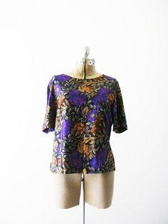 Vintage 1980's Purple Peonies Blouse