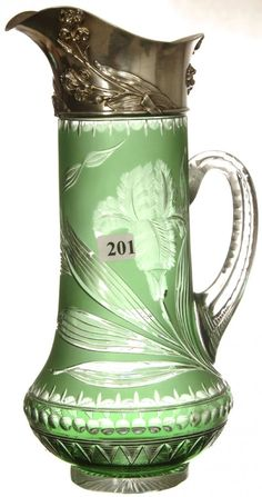 """ELEGANT! 11 1/2"""" GREEN CUT TO CLEAR HANDLED PITCHER  FINELY ENGRAVED IRIS DECOR - FANCY EMBOSSED STERLING """"IRIS"""" SPOUT - B&F MARKED STERLING - ATTRIBUTED TO THOMAS WEBB AS FEATURED ON PG. 55 CARVED AND DECORATED EUROPEAN ART GLASS BY GROVER     Sold for $3,100"""