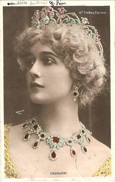 Lina Cavalieri- her face is more beautiful than her jewelry.
