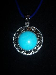 Wonderful Turquoise & Sterling Silver Pendant. FREE S/H!