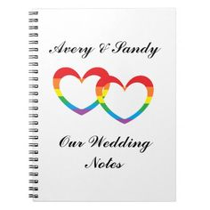 """""""Rainbow Double Hearts"""" Personalized Notebook is perfect for jotting down information for wedding planning, etc. Nice keepsake."""