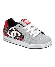Loving this Gray & Red Net Leather Sneaker - Kids on #zulily! #zulilyfinds