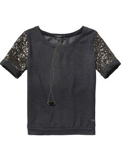 Short-sleeved sweater with sequin sleeves - Sweats - Scotch & Soda Online Shop