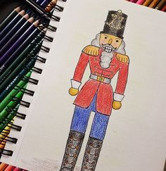 I'm a little behind in my challenges and trying to catch up. This is my nutcracker soldier colored with my new This is my sixth entry for the challenge for Day Nutcracker Nutcracker Soldier, Christmas Drawing, Bart Simpson, Colored Pencils, Coloring, Challenges, Fictional Characters, Christmas Design, Colouring Pencils
