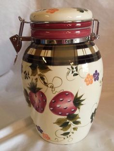 "Oneida 9"" Tall Strawberry Plaid Ceramic Cannister Jar with Hinged Lid 