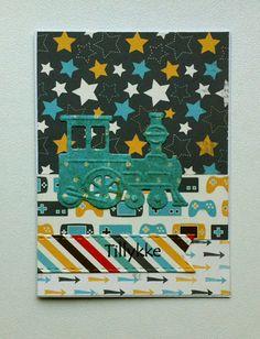 Tag small card - kid birthday card with train - til og fra kort fødselsdag Carta Bella: Boy oh Boy - paper pad