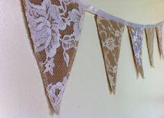 Mini Triangle Hessian Burlap Bunting White door weddingdesire