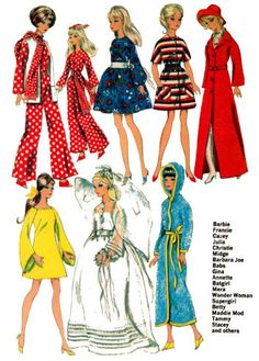 Doll clothes pattern.  Mod vintage sewing pattern to fit teenage dolls such as Barbie.  See website for purchase information.  #DollClothesPatterns  #SewBarbie