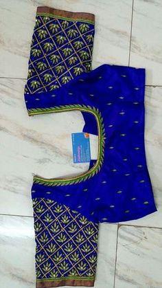 Blouse design on silk sari Wedding Saree Blouse Designs, Pattu Saree Blouse Designs, Silk Saree Blouse Designs, Blouse Neck Designs, Blouse Patterns, Lehenga Blouse, Simple Blouse Designs, Stylish Blouse Design, Simple Designs