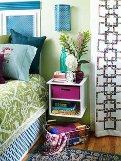 DIY Bedroom Makeover - floating cubby thing? Cute!