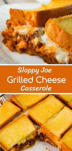 Sloppy Joe Grilled Cheese Casserole is an easy ground beef dinner recipe your wh. - Sloppy Joe Grilled Cheese Casserole is an easy ground beef dinner recipe your whole family will lov - Homemade Sloppy Joe Sauce, Easy Sloppy Joe Recipe, Grilled Cheese Sloppy Joe, Grilled Cheese Sandwiches, Grilled Cheeses, Beef Casserole Recipes, Vegan Casserole, Ham Casserole, Casserole Dishes