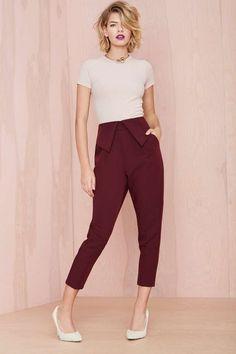 Nasty Gal Fold Ya So Trouser | Shop Pants at Nasty Gal
