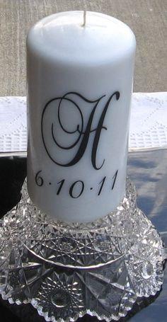 Wedding Candle Vinyl Decal (1 Monogram plus Date) $6  @Emilia Alexander