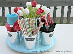 Make an easy picnic caddy using a lazy susan from IKEA and some small buckets from Target. Cut out chalkboard labels to place on the buckets and you can change them whenever you like. Coco Chanel, 50th Birthday Party, Birthday Ideas, Party Entertainment, Decoration Table, Party Planning, Party Time, Party Supplies, Office Supplies