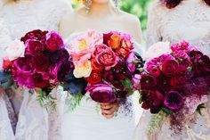magenta peony and rose bouquets