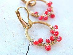 Red earrings Hoop earrings Agate earrings Wire wrap Jewelry Raw brass jewelry by QuietRobin on Etsy