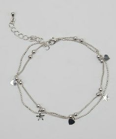 Another great find on #zulily! Silver Heart & Star Anklet #zulilyfinds