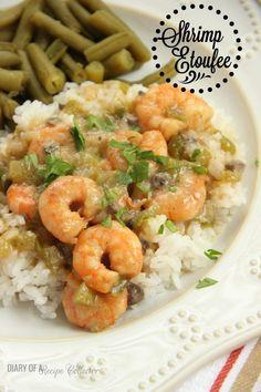 Shrimp Etoufee - Diary of A Recipe Collector Creole Recipes, Cajun Recipes, Seafood Recipes, Dinner Recipes, Crawfish Recipes, Cajun Food, Cajun Dishes, Seafood Dishes, Fish And Seafood