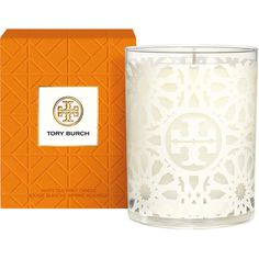 Tory Burch Home Candle ($60) ❤ liked on Polyvore featuring home, home decor, candles & candleholders, floral scented candles, white home decor, fragrance candles, citrus scented candles and floral home decor