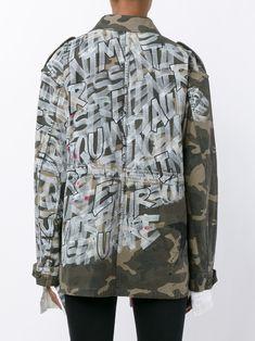 FAITH CONNEXION | Camouflage Field Jacket with Graffiti Print | Womenswear | Browns Fashion Uni Fashion, Brown Fashion, Street Jeans, Custom Denim Jackets, Jean Jacket Outfits, Field Jacket, Dope Outfits, Custom Clothes, Menswear