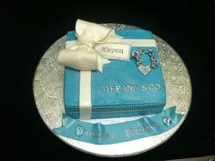 Tiffany box cake gift box with bling