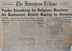 The Johnstown Tribune - World War II: Augfust 31, 1944:Yanks Streaking for Belgium