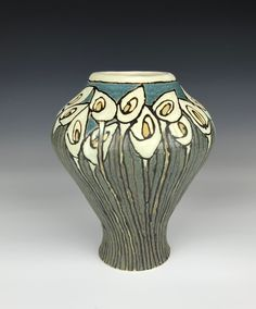 Taira Wiggins| Sweet Earth Pottery | Craftsman SEG Lilies Vase by Taira Wiggins