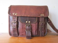 Real Leather Satchel Bag!    This perfectly sized leather bag is just right for carrying your essentials around, the naturally tanned leather has