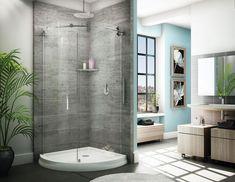Barn door style exposed roller sliding curved shower enclosure | Binswanger Glass