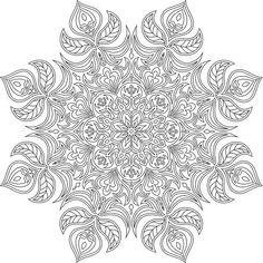 Monochrome contour mandala for coloring.