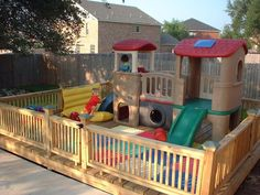 Play area built on a deck – don't have to worry about moving toys to mow! Play area built on a deck – don't have to worry about moving toys to mow! Toddler Play Area, Toddler Playground, Backyard Playground, Playground Ideas, Playground Design, Toddler Bed, Kids Outdoor Play, Outdoor Play Spaces, Backyard For Kids