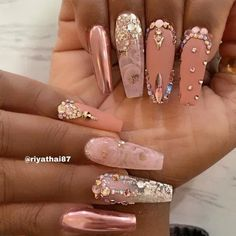 Want some ideas for wedding nail polish designs? This article is a collection of our favorite nail polish designs for your special day. Glam Nails, Dope Nails, Bling Nails, 3d Nails, Wedding Nail Polish, Wedding Nails, Nail Swag, Best Acrylic Nails, Acrylic Nail Designs