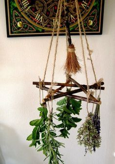 Handmade Positively Pagan Wiccan Pentagram & Besom Herb Drier / Hanger. Witch Kitchen. Handfasting Gift.